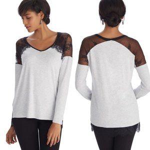 WHITE HOUSE BLACK MARKET Long Sleeve Lace Shirt XS